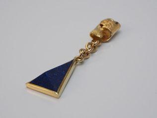 Einzelohrhänger, Ohrhänger, Lapis, Gold