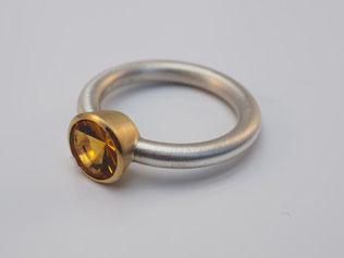 Ring, Citrin, Sonnenschliff, Gold, Silber