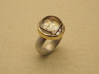 Ring, Rutilquarz, Gold, Silber