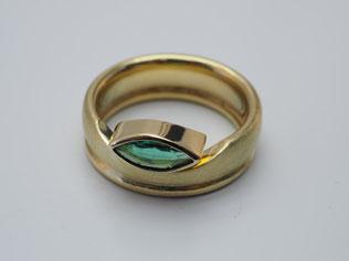 Ring, Smaragd, Navette, Gold