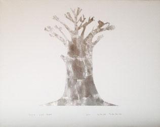 Trees  ドローイング アルシュ紙 銀箔