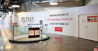 Travaux du magasion ACTION du centre commercial L'Usine Mode & Maison à Vélizy-Villacoublay.