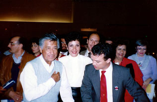 Cesar Chavez and George Yepes at United Farmworkers Cesar Chavez Birthday Dinner.