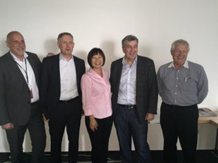 TIACA-SASI course leaders (l > r): Franz van Hessen, CGN Airport / Oliver Gritz, TIACA / Lilian Tan, Stan Wraight, Charles Edwards - all SASI.