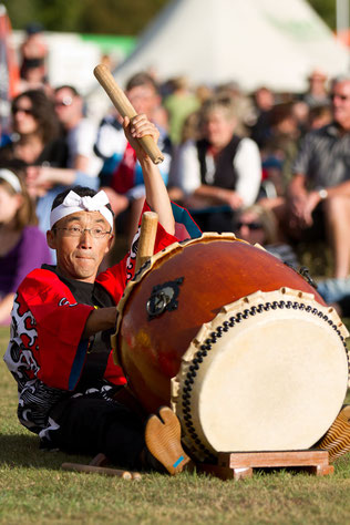 Fumio performs Taiko Drum playing in a festival