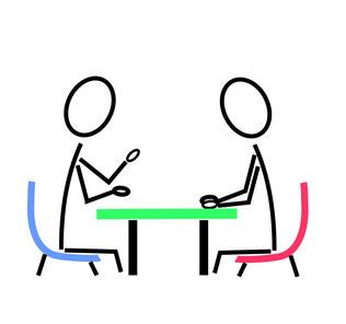 Zeichnung zweier Menschen an einem Tisch sitzend und miteinander redend