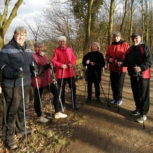 Sechs Walking-Aktive im Gemeindewald