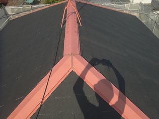 熊本市M様コロニアル屋根の下塗り及び板金錆止め塗装完成。