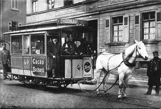 Gleisgebundene Pferdestraßenbahn; Stuttgart 1898. Foto: Wikimedia gem.-frei