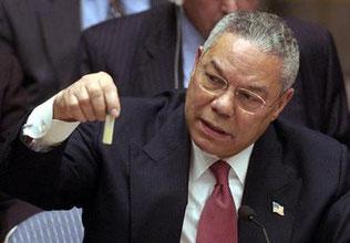 Colin Powell vor dem UN-Sicherheitsrat mit angeblichen Beweisen von Massenvernichtungswaffen im Irak, 5. Februar 2003