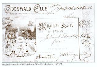 Mitgliedskarte Odenwald-Club (1906/07)