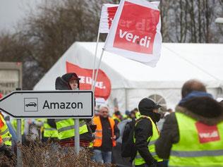 Streikende vor dem Amazon-Logistikzentrum in Koblenz. Foto: Thomas Frey