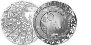 Pièce de 20€ argent, année du Rat 2020.
