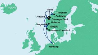 Route Norwegische Fjorde
