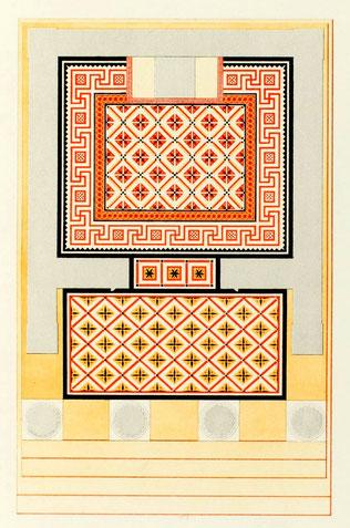 Italie - Sicile - Sélinonte : Plan du temple B ou d'Empédocle avec restitution du pavement coloré de l'époque