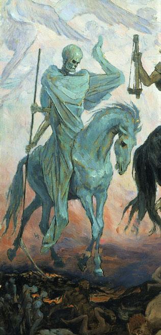 """L'agneau a ouvert le 4ème sceau, le 4ème être vivant a dit """"viens"""". Apparaît alors le 4ème cheval de couleur verdâtre qui est chevauché par la Mort elle-même. Selon d'autres traductions, le cheval est blême, pâle ou livide, ce qui évoque la maladie. l"""