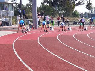 Christian Klee (Bahn 4) beim 200 Meter Start