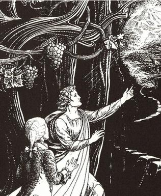 霊界の奥深い所に案内の天使に導かれて入るスウェーデンボルグ