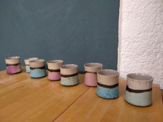 Rakubecher, verschiedene Farben, 19€ je Stück