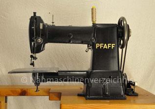 Pfaff 28, rechtsständige Freiarm-Geradstich-Gewerbenähmaschine (Pfaff 27 linksständig), Fußantrieb bzw. Motor nachrüstbar, Hersteller: G. M. Pfaff AG, Kaiserslautern (Bilder: Nähmaschinenverzeichnis)