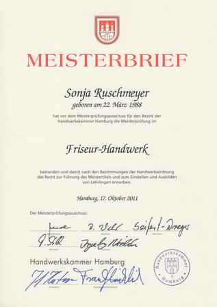 Ansicht des Meisterbriefes von Sonja Ruschmeyer