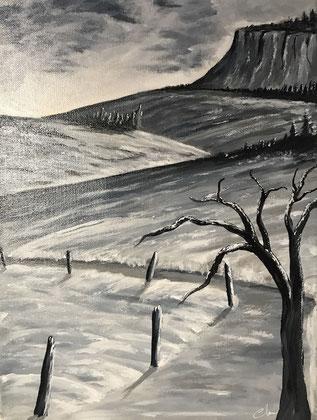 Tableau couleur gris de Payne et blanc