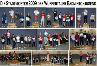 Wuppertaler Stadtmeister 2009 im Einzel der Jugend