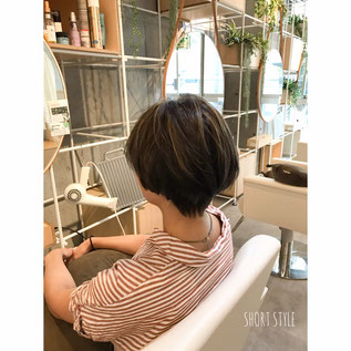 横浜 石川町 美容室 Grantus ショートスタイル マニッシュ バレイヤージュカラー グレイジュ 夏