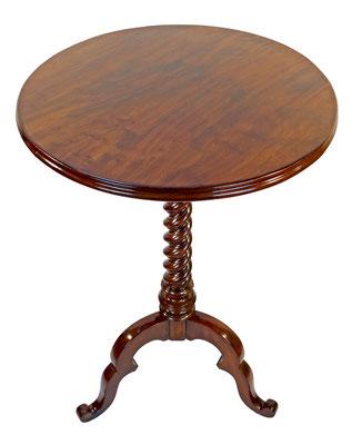 Tisch Beistelltisch gedrechselt Nussbaum antik Antiquitaeten Schowalter Pfalz Restauration