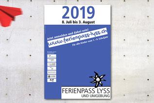 plakatdesign von dickesdesign für ferienpass lyss 2019