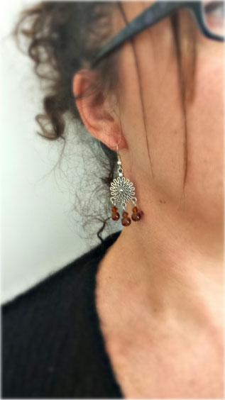 NOURIA - Boucles d'oreilles ethniques pendantes argent fait main