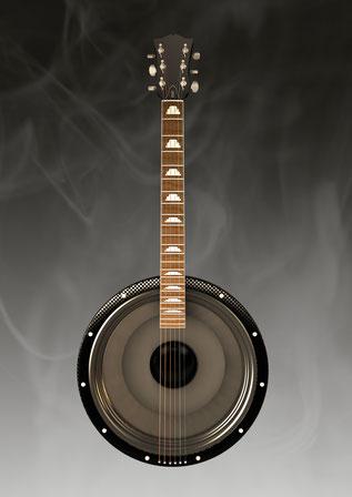 eine Gitarre, deren Korpus gleichzeitig ein Lautsprecher ist
