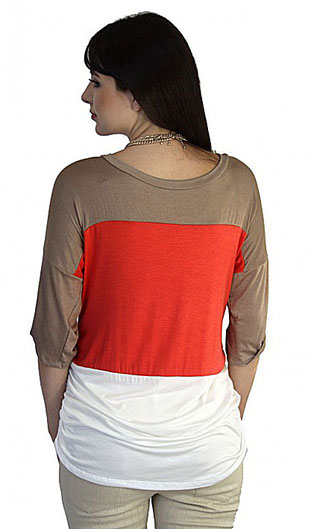 1/2 sleeve maternity top cream white, coral, mocha brown