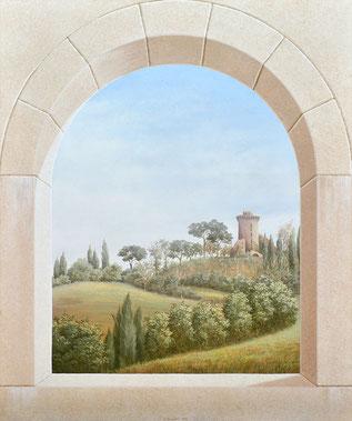 Stone Arch, Mural by Irma Fiorentini - Fiorentini Design, Classical Murals, Wallpaper Borders