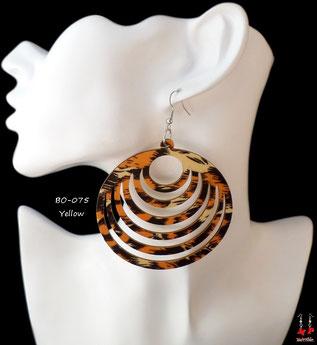 Boucles d'oreilles anneaux en bois pendants zébrés orange brun