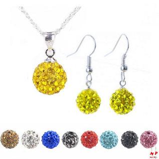 Parure boucles d'oreilles pendantes et collier à pendentif shamballa jaune