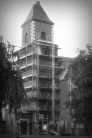 Sierdorfer Kirche, die Kirchturmspitze viel einem Sturm zum Opfer
