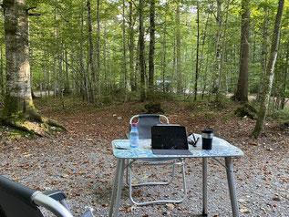 Arbeitsplatz im Wald mit bestem LTE
