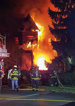 Heavy fire at the scene on East 2nd Street in Plainfield