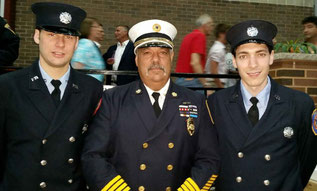 Pictured from left: FF Jones, Chief Piccola, FF D'Amico