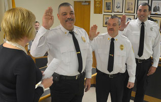 Mayor Colleen Mahr, Chief John Piccola, Assistant Chief Dave Zawodniak, Captain Frank Dietl (photo by Tom Horton)