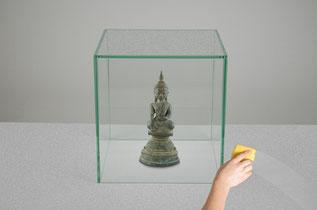 Glashaube nach Maß, Schutz vor Staubablagerungen, Glas kleben