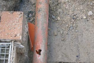 Defekte Abwasserleitung
