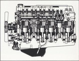 Längsschnitt 3.0 l-E-Motor
