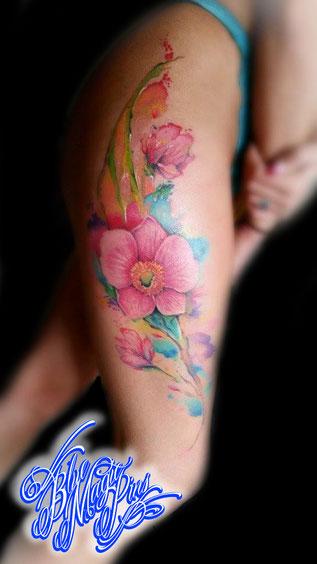 Blue Magic Pins custom watercolor flower tattoo