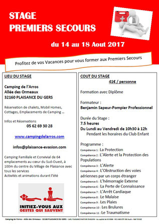 Stage premiers secours - camping gers arros
