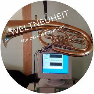Weltneuheit von Erwin Schmid persönlich entwickelt: Die Vibrationsentdämpfung, ein Verfahren zur Verbesserung des Resonanzverhaltens von Blasinstrumenten.