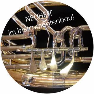 Neuheit im Instrumentenbau, veränderte Ventilführung von Metallblasinstrumenten.