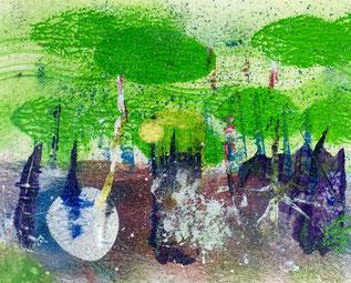Ciel vert, 2016, tecnica mista, 15,5 x 13 cm