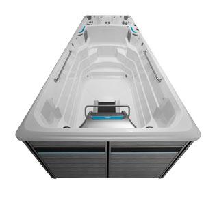 Swim Spa E2000 Kombimodell mit zwei Temperaturen: Ein separater Whirlpoolbereich erlaubt Ihnen die unabhängige Einstellung der Temperatur, im Schwimm- bzw. im Whirlpoolbereich.